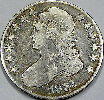1831 Capped Bust Half Dollar NIce EF-AU... Pleasing coin with light rim toning!!
