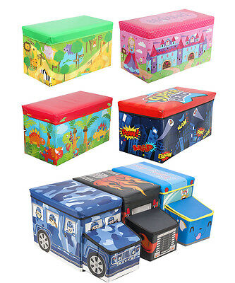 Kids Childrens Large Storage Toy Box Girls Boys Books Chest Clothes Padded Seat