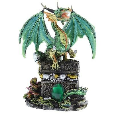 Green Mystical Dragon Figurine On Treasure Chest New Boxed 61061