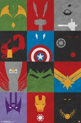 AVENGERS ~ MINIMALIST ~ 22x34 COMIC ART POSTER ~ NEW/ROLLED!  Marvel