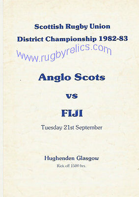 Anglo Scots v Fiji 21 Sep 1982 Glasgow RUGBY PROGRAMME