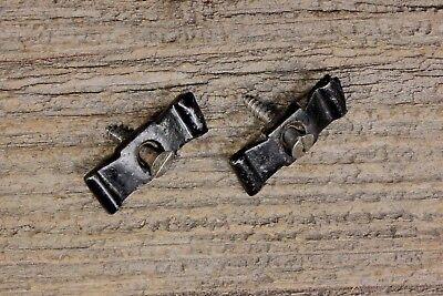 "2 cupboard cabinet 1 3/8"" flat bow tie turn button latches old vintage iron"