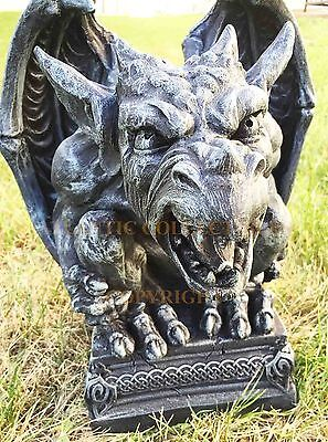 "Large Roaring Gargoyle On Pedestal 15"" Tall Faux Stone Home Decor Garden Statue"