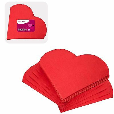 20 Red Heart Napkins Tableware Catering Party Tableware Wedding Engagement