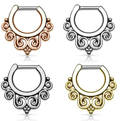 316L Surgical Steel Brass Hinged Septum Clicker Nose Ring Hoop Tribal Swirls 14G