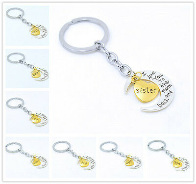 Popular family dad mom keychain for mom I love you to the moon and back keyring