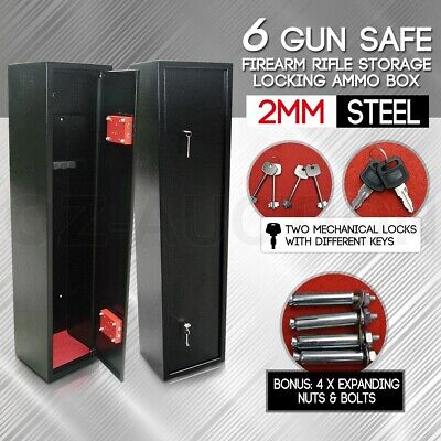 6 Gun Safe Safety Firearm Lockable Rifle Storage Lockbox 2mm Steel Cabinet