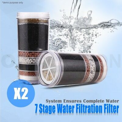 2Pcs 7 Stage Water Filter Purifier System Ceramic Carbon Mineral Ball Dispenser