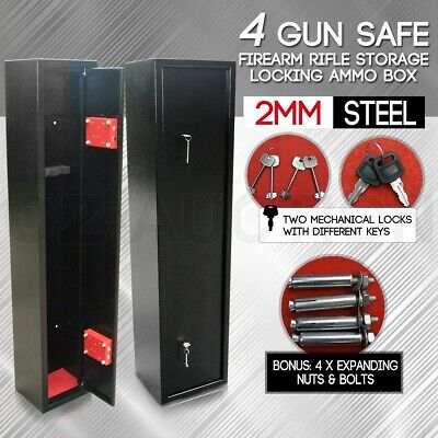 4 Rifle Storage Gun Safe Firearm Security Box Lockbox 2mm Steel Duty Cabinet NEW