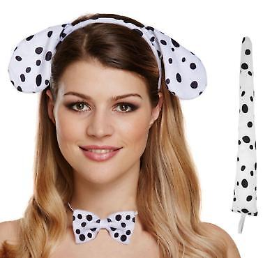 #Dalmatian Dog Set Ears Nose With Sound Tail Bow Tie Animals Nature Fancy Dress