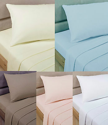 Double Sheet Set. Fitted Flat & 2 Pillowcases Choice of Colors