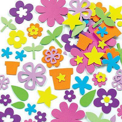 Flower Garden Foam Stickers for Children to Decorate Cards Crafts (Pack of 200)