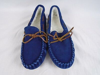 The Company Store- Men's Moccasin Slippers- T675 Size 8 Denim Blue- 255D