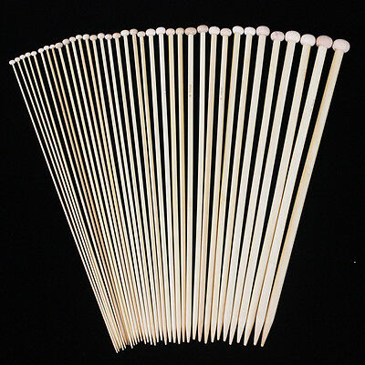 36pcs 18sizes 18Pairs 8'' 20cm Bamboo Single Pointed Knitting Needles Smooth