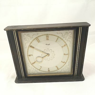 Kienzle Clock Vintage Wind Up Gold Hands and Face Wood Case