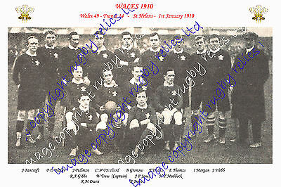 WALES (v France) 1910 INTERNATIONAL RUGBY TEAM PHOTOGRAPH or POSTCARD