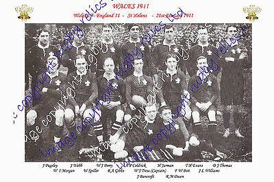WALES (v England) 1911 INTERNATIONAL RUGBY TEAM PHOTOGRAPH or POSTCARD