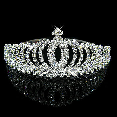 Wedding Bridal Tiara Prom Queen Clear Silver Rhinestone Crystal Pageant Crown