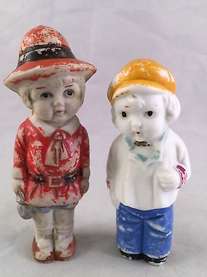 Pair Of Vintage Made In Japan Bisque Dutch Boy And Girl Dolls