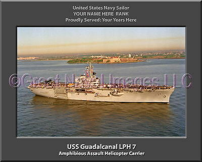 USS Guadalcanal LPH 7 Personalized Canvas Ship Photo Print Navy Veteran Gift