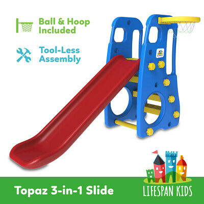 New 2 in 1 Baby Slide And Basketball Set Indoor & Outdoor Toys Lifespan JADE