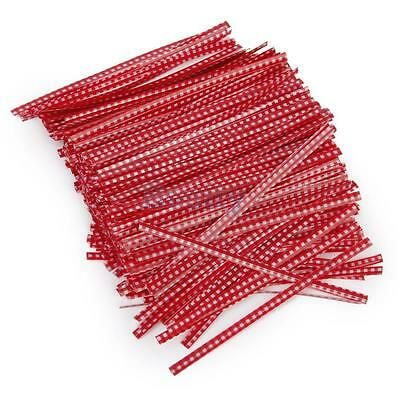 500pcs 10cm Metallic Twist Ties for Bakery Candy Cello Bags General Use Red