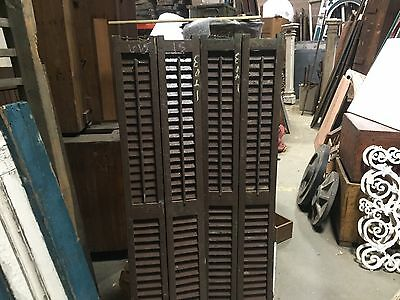 """PaiR double wide victorian louvered house window BROWN SHUTTERS 61"""" high x 15"""" w"""