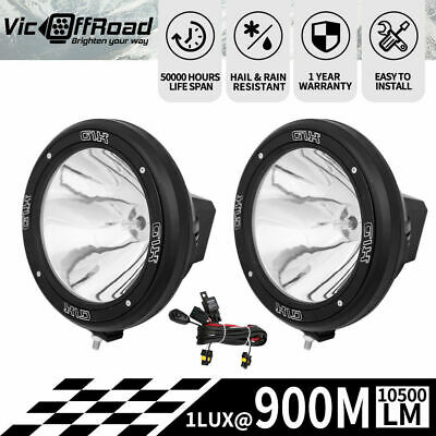 2x9inch 100W HID XENON Driving Lights Black Spotlight Offroad Work Lamp 4X4 SUV