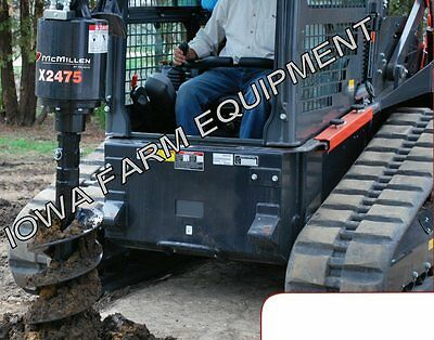 "McMillen X2475 Skidsteer Post Hole Auger Digger With 12"" Auger: 20-35GPM"