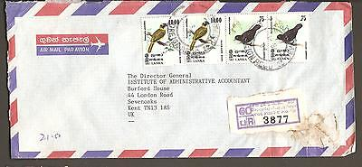 Colombo GPO Sri Lanka Foreign Registered Air Mail Cover to Kent UK Bird Stamps