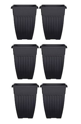 Tall Athens Plant Pot Tall Garden Plastic Planter 42cm x 31cm Black Colour Pot