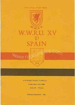 West Wales Rugby Union v Spain 12 Apr 1985 Llanelli RUGBY PROGRAMME