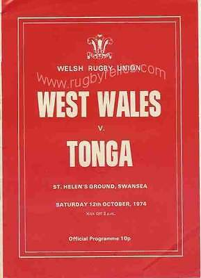 West Wales v Tonga 12 Oct 1974 Swansea RUGBY PROGRAMME