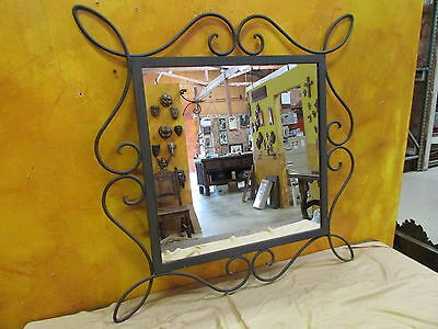 Rustic Iron Mirror-33x33 Inches-Wall Art-Handmade-Wrought-Gorgeous-Scroll