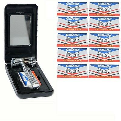 New Butterfly Safety Razor & 10 Wilkinson Sword Double Edge Shaving Blades TTO