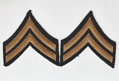 Army Rank Chevron: Corporal - WWII, embroidered on felt, pair