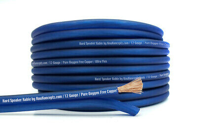 KnuKonceptz Kord Speaker Wire Ultra Flex Blue OFC 12 Gauge Cable 50' Copper AWG