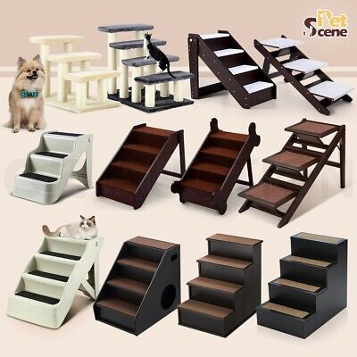 Portable Multi Steps Foldable Cat Pet Dog Stairs Ramp Sheepskin-like Mat Ladder