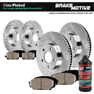 Front & Rear Drilled Slotted Brake Rotors And 8 Ceramic Pads Lexus HS250H Rav 4