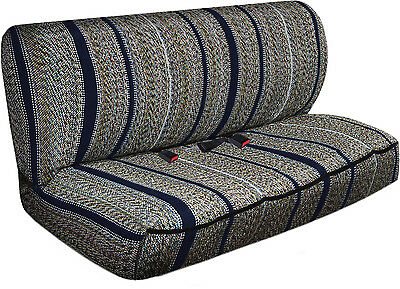 SUV Van Truck Seat Cover Navy Blue Western Woven Saddle Blanket 2pc Bench