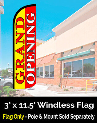 GRAND OPENING (Yellow/Red) Windless Polyknit Feather Flag (3 x 11.5 feet)