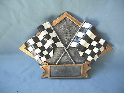 diamond resin plaque RACING award trophy full color crossed flags DPS20