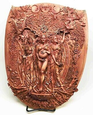 Triple Goddess Maiden Crone and Mother Wall Hanging Plaque Statue Maxine Miller