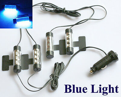 4x 3 LED 12V Car Auto Interior Atmosphere Lights Decoration Lamp Blue