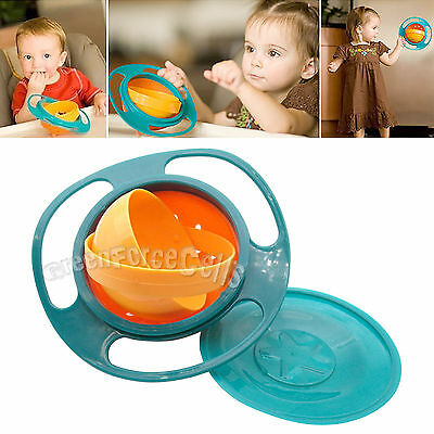 Baby Kid Children Food Gyro Bowl Dishes 360 Rotate Spill-Proof Bowl Dishes w/Lid