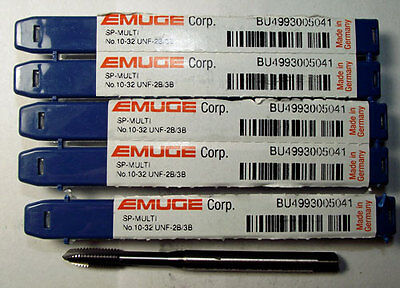 5pc #10-32 EMUGE SPIRAL POINTED TAP TICN COATED