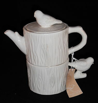 """Two's Company Ceramic Tea Set For One - """"Of Birds And Trees"""" - IMPERFECT"""