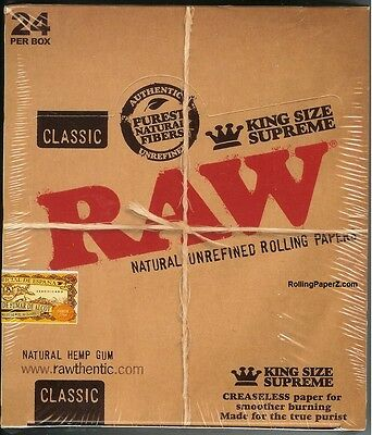 24 PACKS RAW CLASSIC KING SIZE SUPREME Natural Unrefined Cigarette Rolling Paper