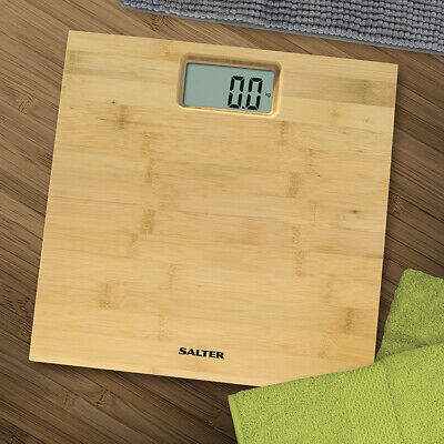Salter Bamboo Digital Bathroom Scales - Wooden Electronic Weight Scales 150kg