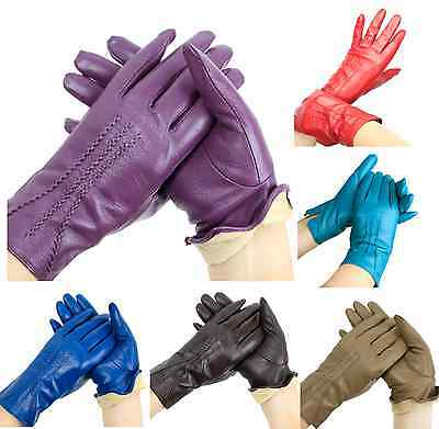 Ladies Womens Soft Real Genuine Leather Fur Lined Warm Gloves 3 Stitch Design